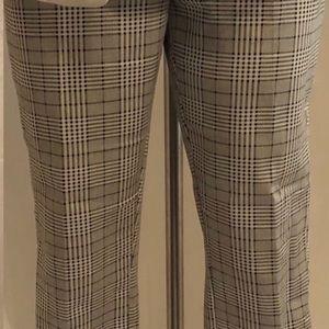 H&M Black and Beige Plaid Career Pants